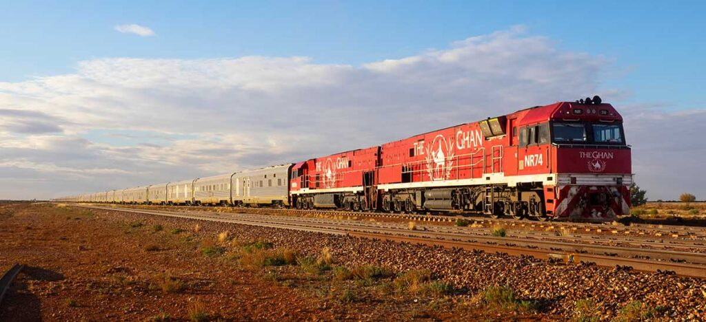 the ghan train in the Australian outback